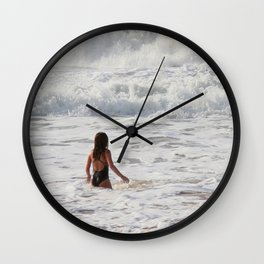 Breaking wave and girl Wall Clock