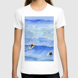 Getting ready to take this wave surf art T-shirt