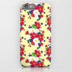 Red White Blue Floral (yellow) iPhone 6s Slim Case