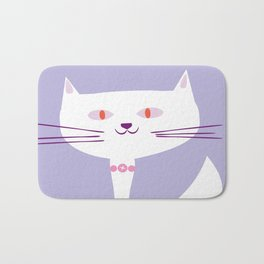 cool white cat Bath Mat