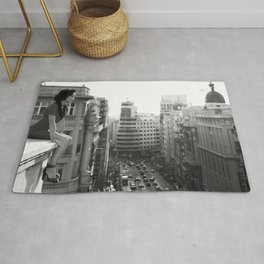 Woman on High, female form cityscape black and white photograph / photography Rug