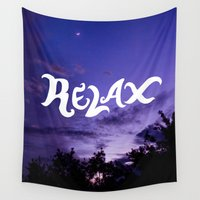 relax Wall Tapestries featuring relax by Maria Laureno