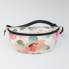 peachy watercolor floral Fanny Pack