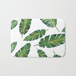 Decorative Watercolor Tropical Leaves Pattern Bath Mat