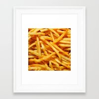 fries Framed Art Prints featuring French Fries by I Love Decor
