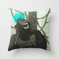 carnage Throw Pillows featuring Uneasy Lies the Head That Wears the Holographic Crown by Alex Craig