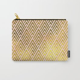 Gold foil triangles on pink - Elegant and luxury triangle pattern Carry-All Pouch