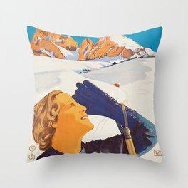 Vintage Dolomites Mountains Italy Travel Poster Throw Pillow