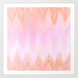 Geometric hand painted coral pink watercolor ikat chevron Art Print
