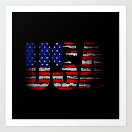 Distressed USA Flag Art Print