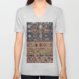 Dusty Blue Green Kuba II 19th Century Authentic Colorful Mustard Bands Vintage Patterns Unisex V-Neck