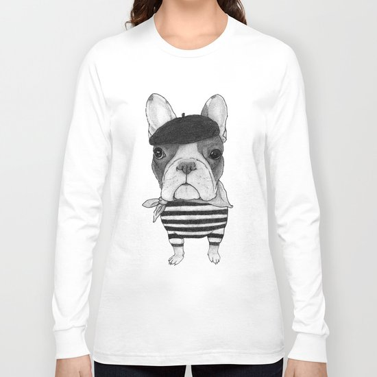 French Bulldog. (black and white version) Long Sleeve T-shirt