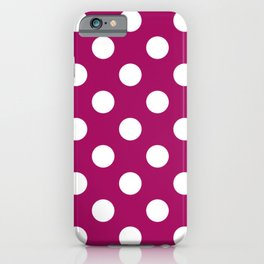 Jazzberry jam - violet - White Polka Dots - Pois Pattern iPhone Case