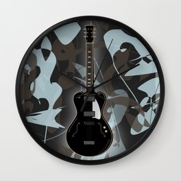 Black semi-acoustic guitar against a swirled gray and blue background | Vector digital art Wall Clock
