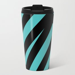 Black blue abstract stripes Travel Mug