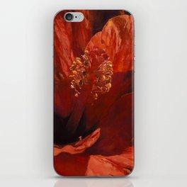 Blaze Orange Hibiscus Flower iPhone Skin