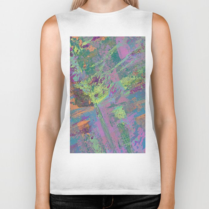 Abstract Thoughts 2 - Textured, painting Biker Tank