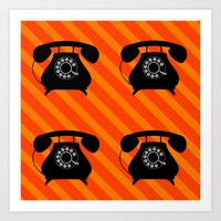 telephone Art Prints featuring telephone by vitamin