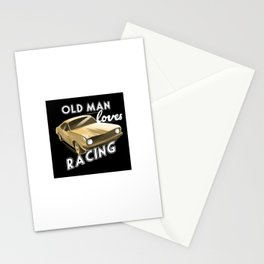 Old Man loves Drag Racing Stationery Cards