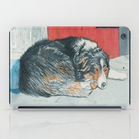 border collie iPad Cases featuring Sleeping Border Collie by Yvonne Carter