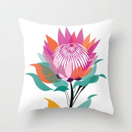 Protea Illustration; Botanical; Australian Native Throw Pillow
