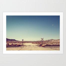 Railroad Crossing California desert Art Print