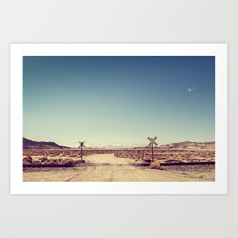 Railroad Crossing California desert Art Print
