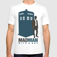 MAD MAN With A Box MEDIUM Mens Fitted Tee White
