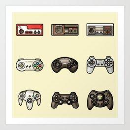 Retro Game Controllers Cream Art Print