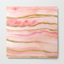 Pink watercolor marble with gold foil Metal Print