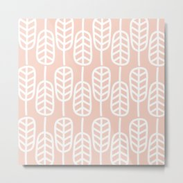 Feather Leaves Minimalist Pattern in White and Blush Pink Metal Print
