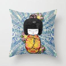 Horror Vacui - Kokeshi01 Throw Pillow