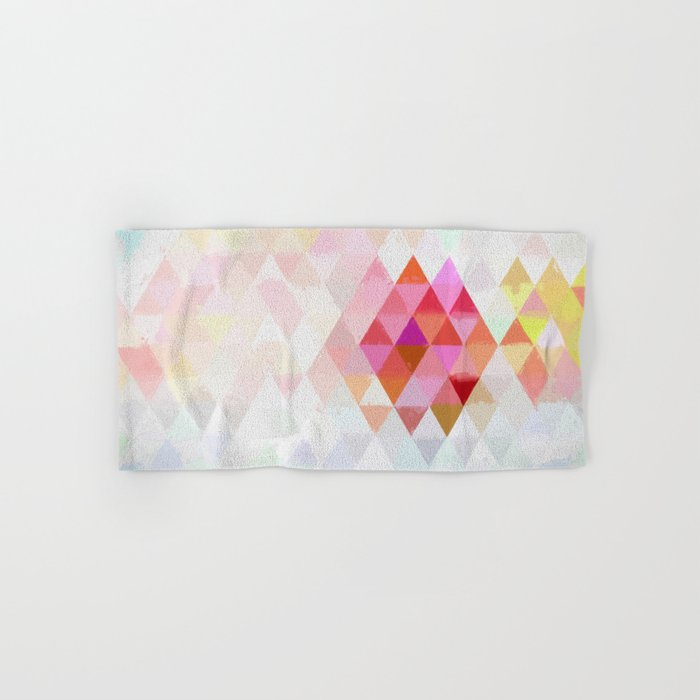 Abstract pink pastell triangle pattern- Watercolor illustration Hand & Bath Towel
