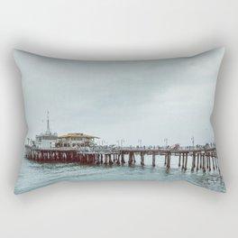 Cloudy Day at Santa Monica Pier California Rectangular Pillow