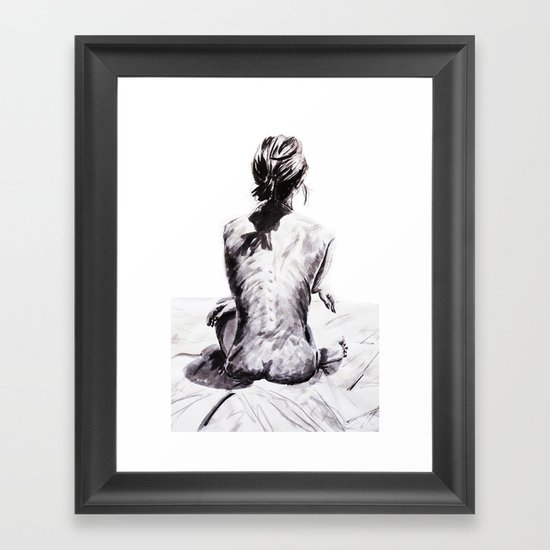 Back and Shadow Study Framed Art Print