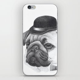 Pug with bowler iPhone Skin