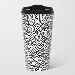 Black and white swirls doodles Travel Mug