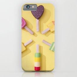 Ice Cream Lollipops on a Bright Yellow Background iPhone Case