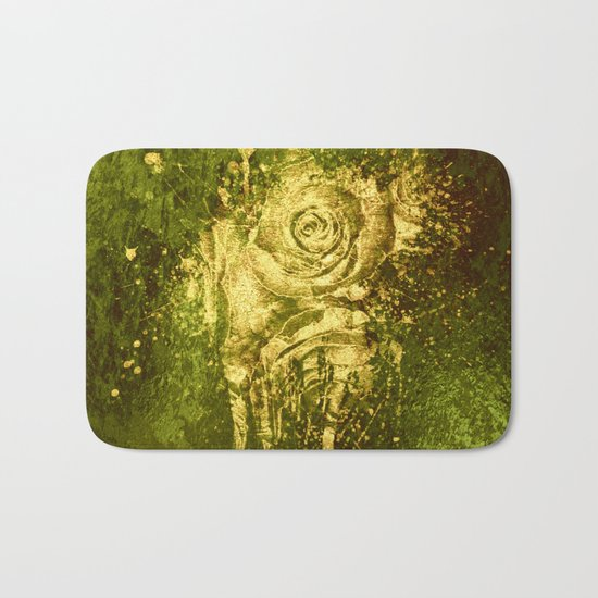 golden rose on green Bath Mat