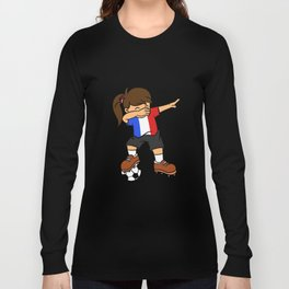 France Soccer Ball Dabbing Girl French Football 2018 Long Sleeve T-shirt