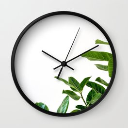 Minimalist Mid Century Abstract Houseplant Green Leaves Fig Tree Wall Clock