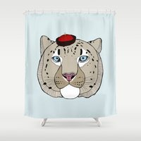 snow leopard Shower Curtains featuring Asian Snow Leopard by Diana Hope