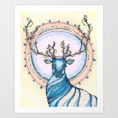 Blue Stag Art Print