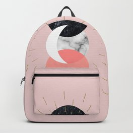 Moon and Sun on Pink and Marble Geometry #abstractart Backpack