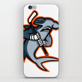 Hammerhead Ice Hockey Player Mascot iPhone Skin