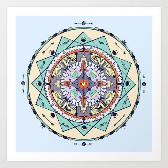 Time and Light Native Shapes Mandala Art Print
