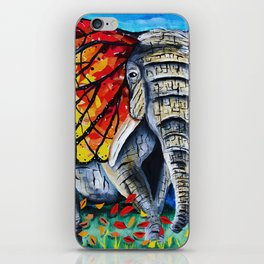 elephant painting, butterfly, monarch, fall leaves, elephant artwork, wall art, autumn iPhone Skin