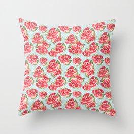 English Roses Blue Polka Dots Throw Pillow