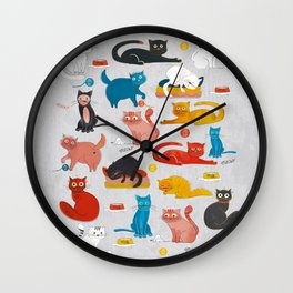 Playful Cats - illustration Wall Clock