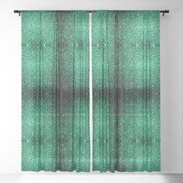 Beautiful Emerald Green glitter sparkles Sheer Curtain